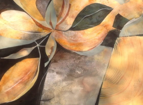 janna zuber, water media on paper, abstract painting of leaves and rocks, rust,black, cream, gray