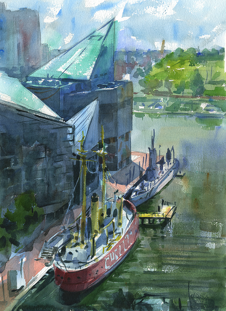watercolor landscape of the Baltimore inner harbor