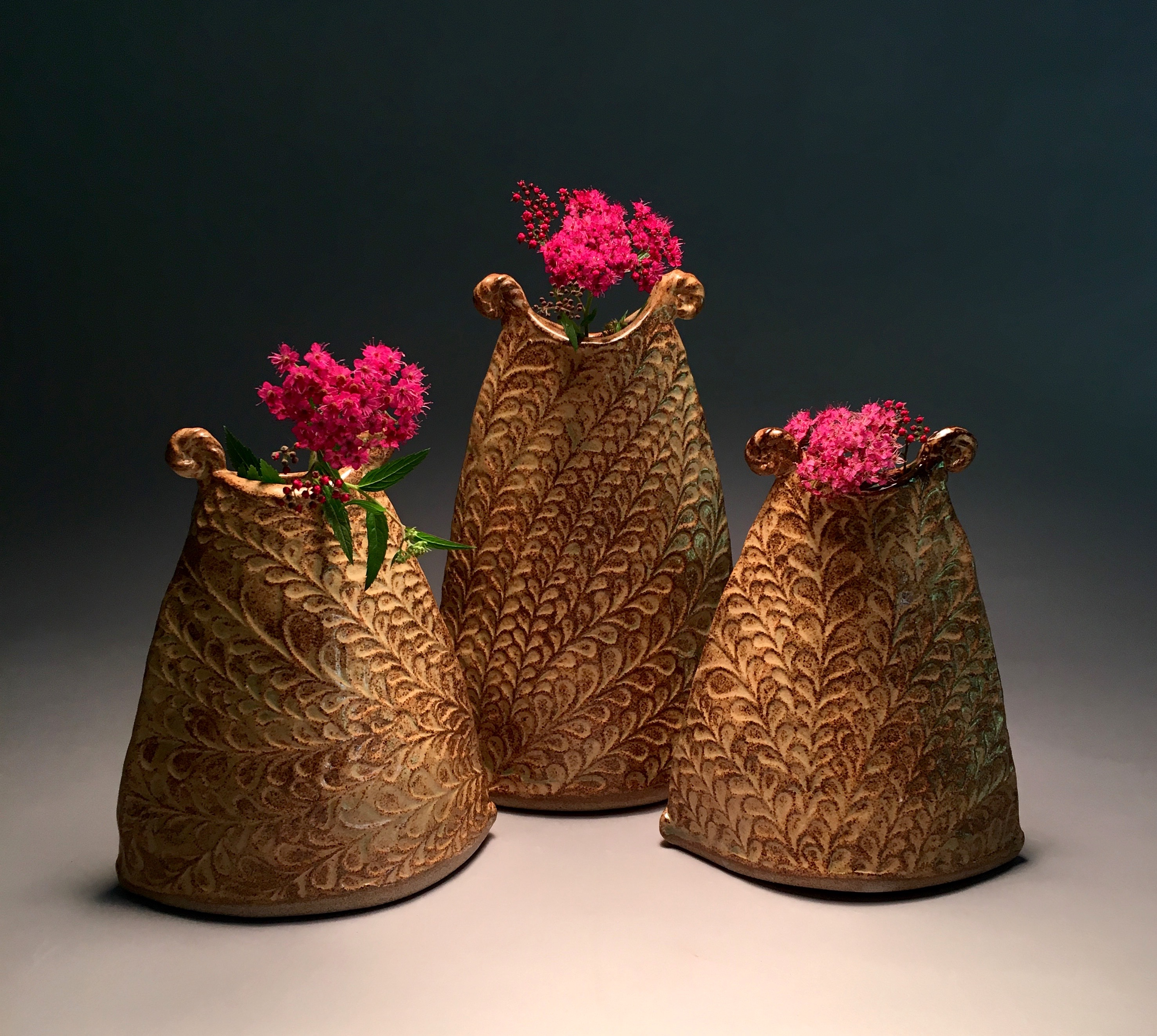 Jennifer Hamilton  Ceramic Textured Bud Vase Series