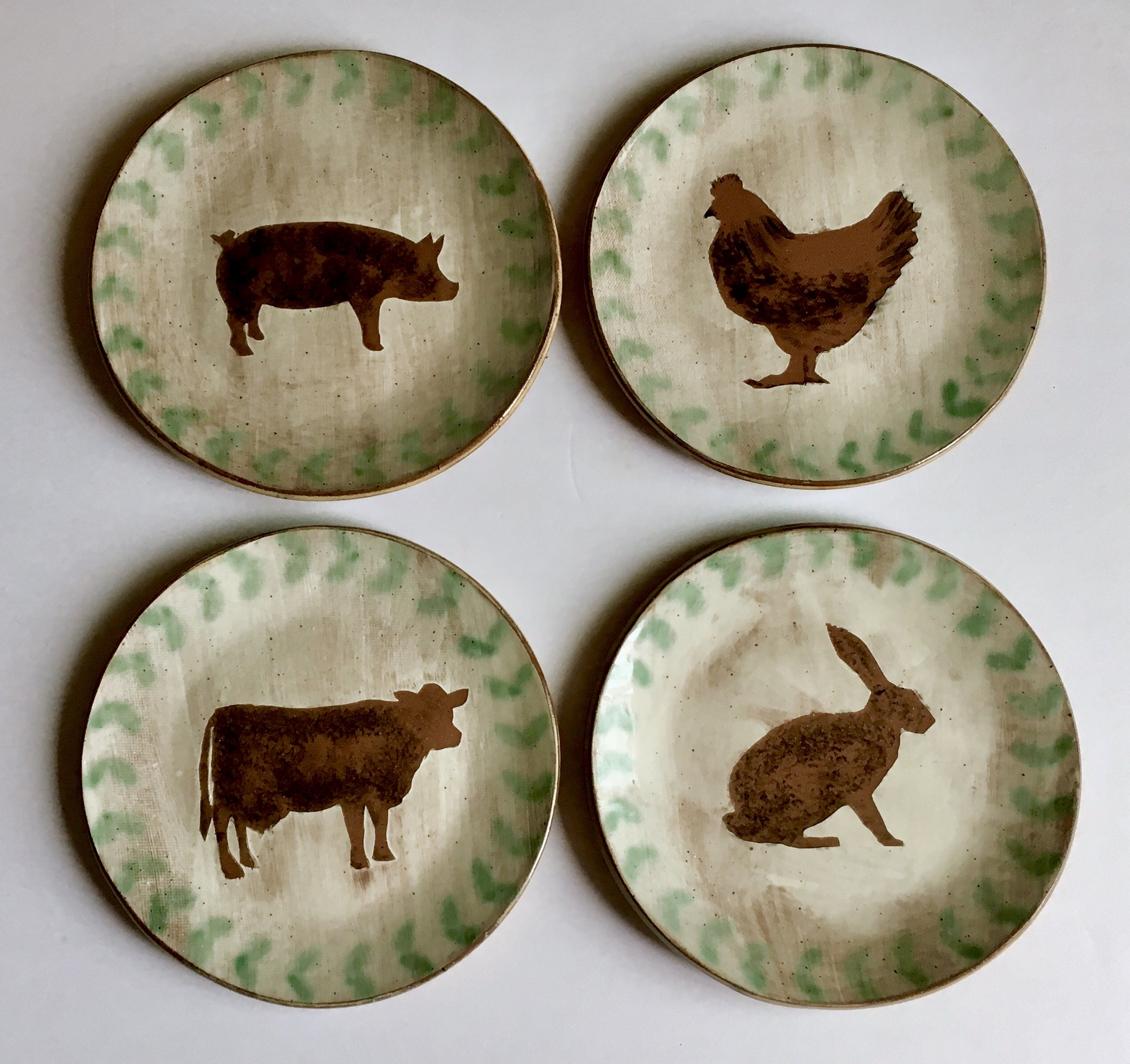 Jennifer Hamilton Ceramic Dessert Plates - Farm Animal Series