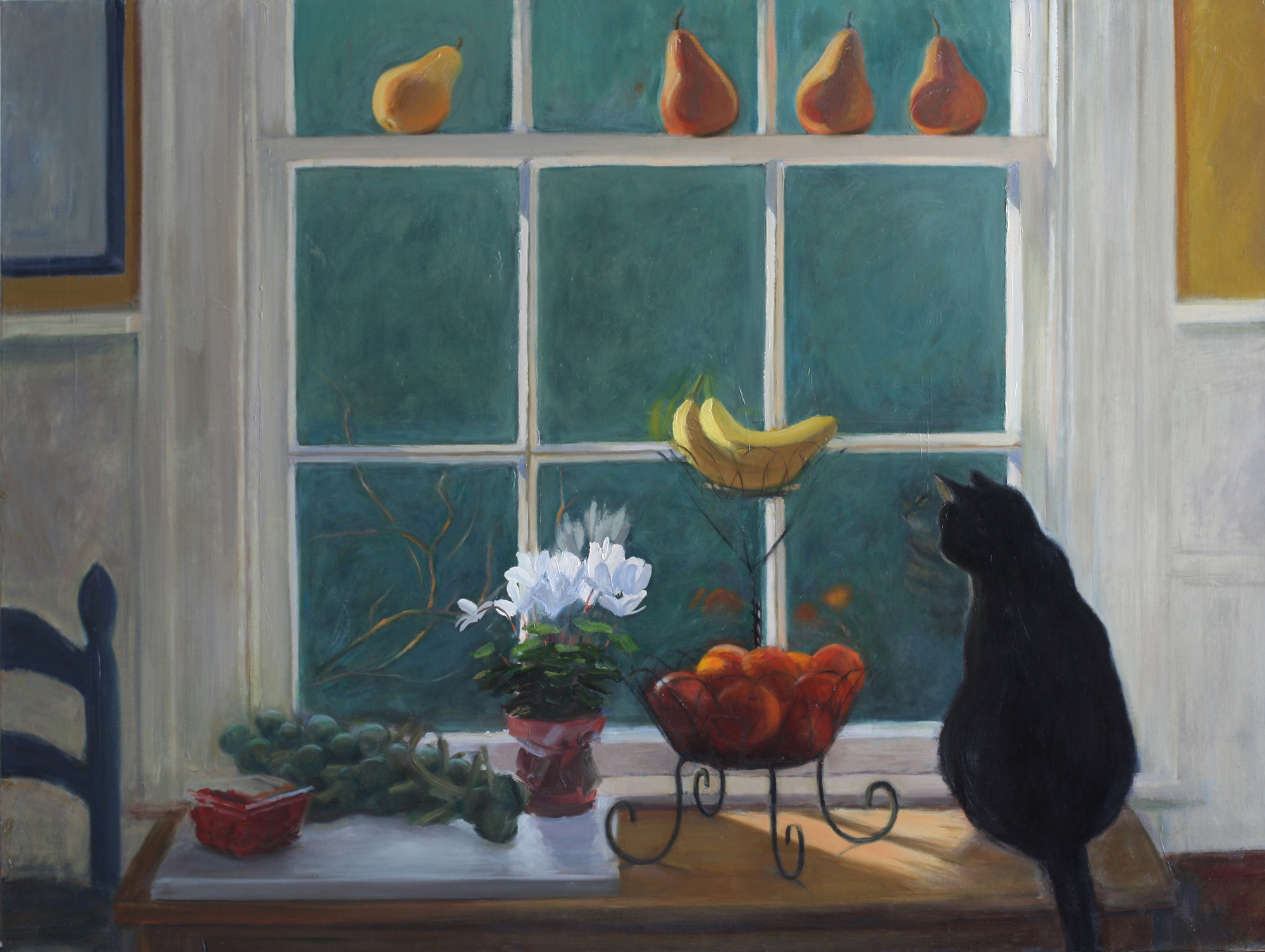 Oil painting of kitchen window with cat