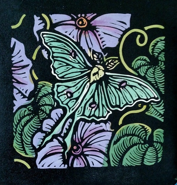 Lunar Moth on Morning Glory by Anita Hagan - Mixed media - Linoleum block print and acrylic