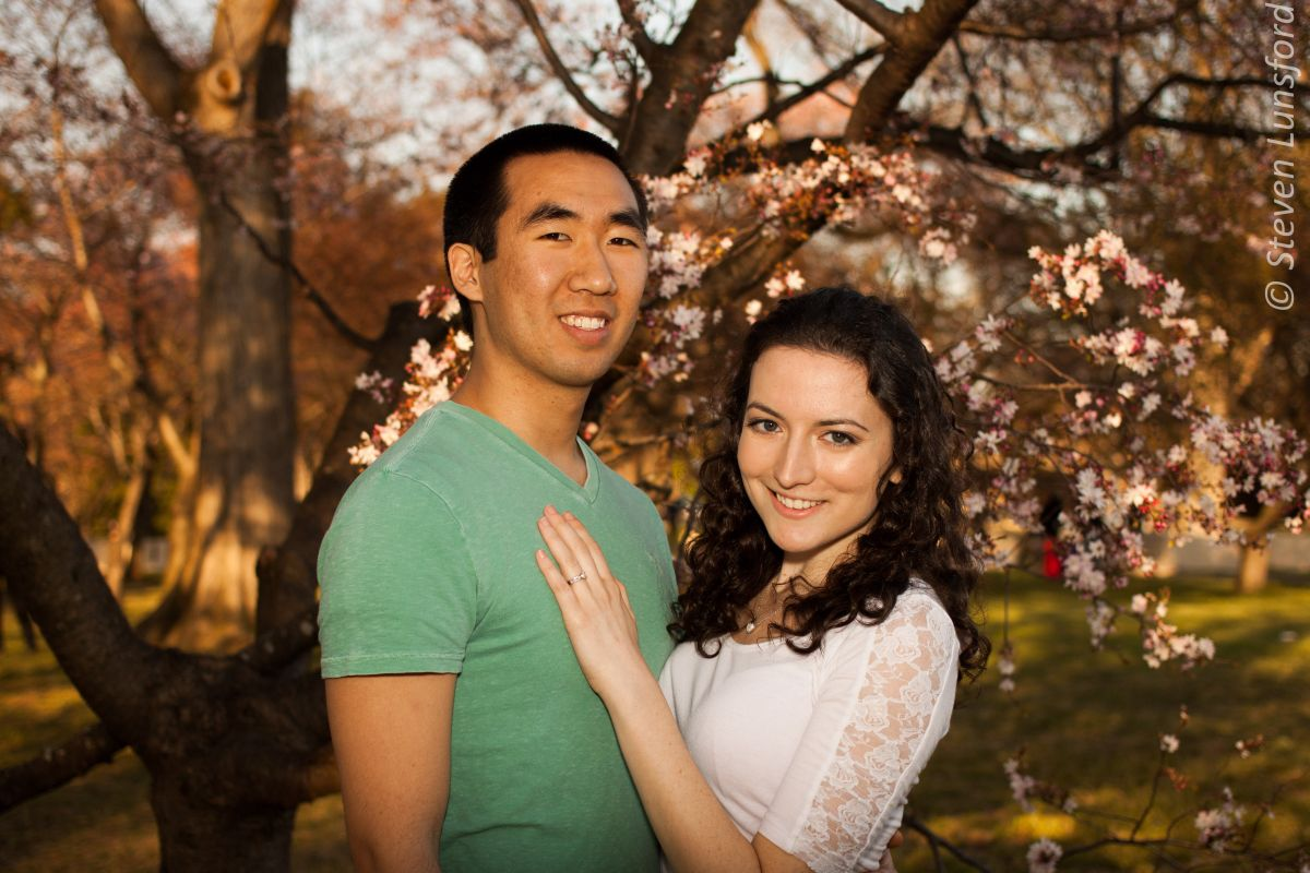 A shot of Margaret and Geoff during their cherry blossom engagement shoot.