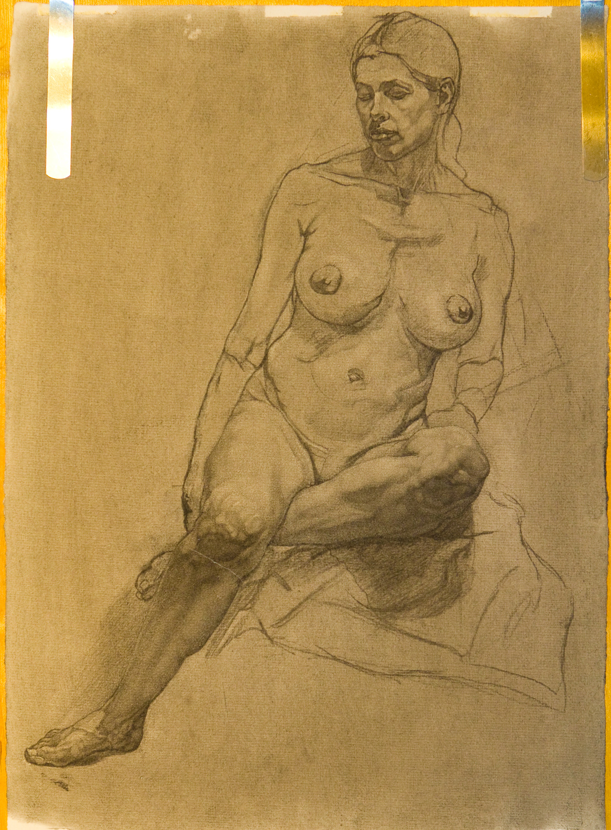 Charcoal drawing of life model, Marina, Seated Aphrodite Study