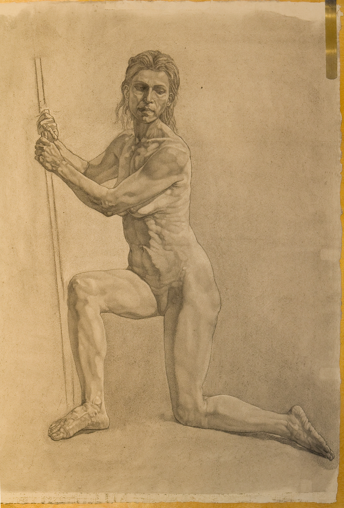 Charcoal drawing from life model, Mehrnoosh, Seated Female