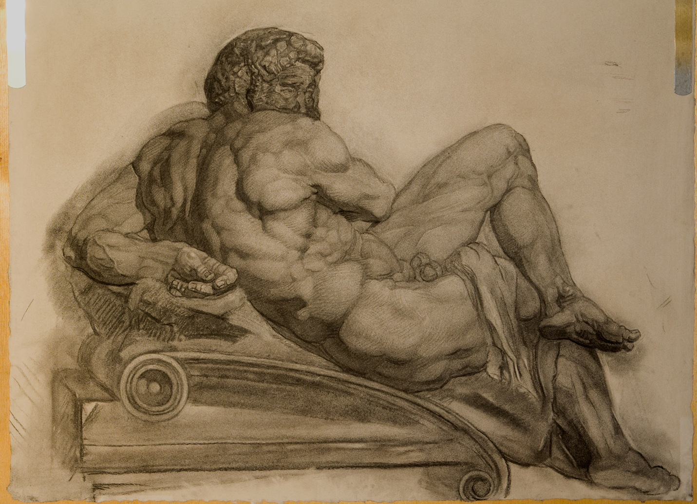 Day figure by Michelangelo, ca. 1526-1531, from the Giuliano de' Medici tomb in the Medici Chapel, Florence