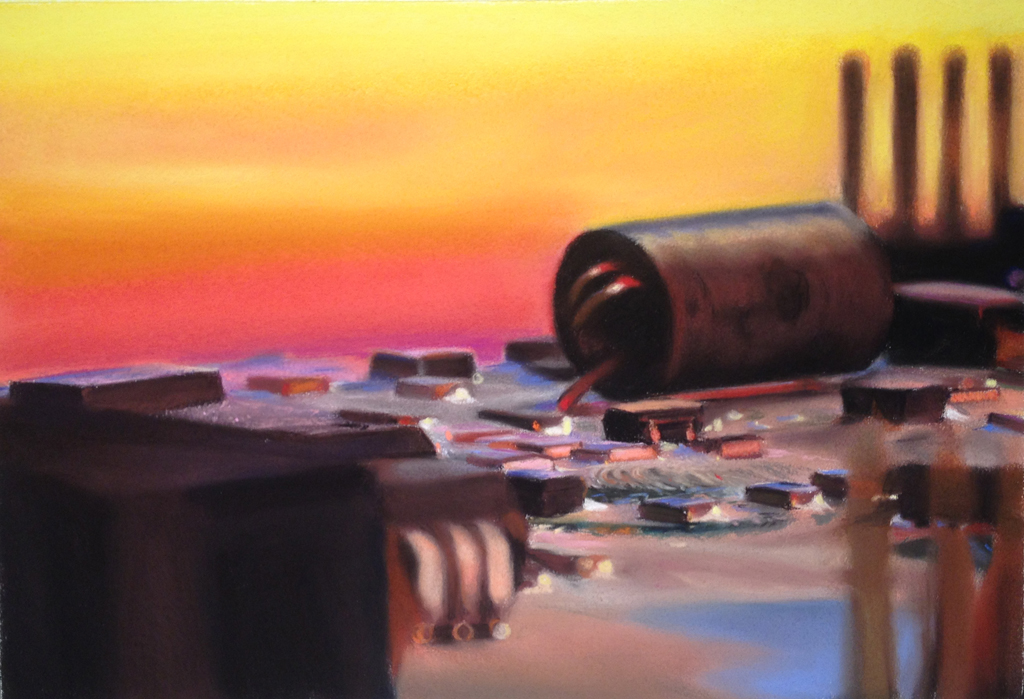 Glen Kessler's pastel drawing 'CircuitScape 34: Prismatic Refinery'