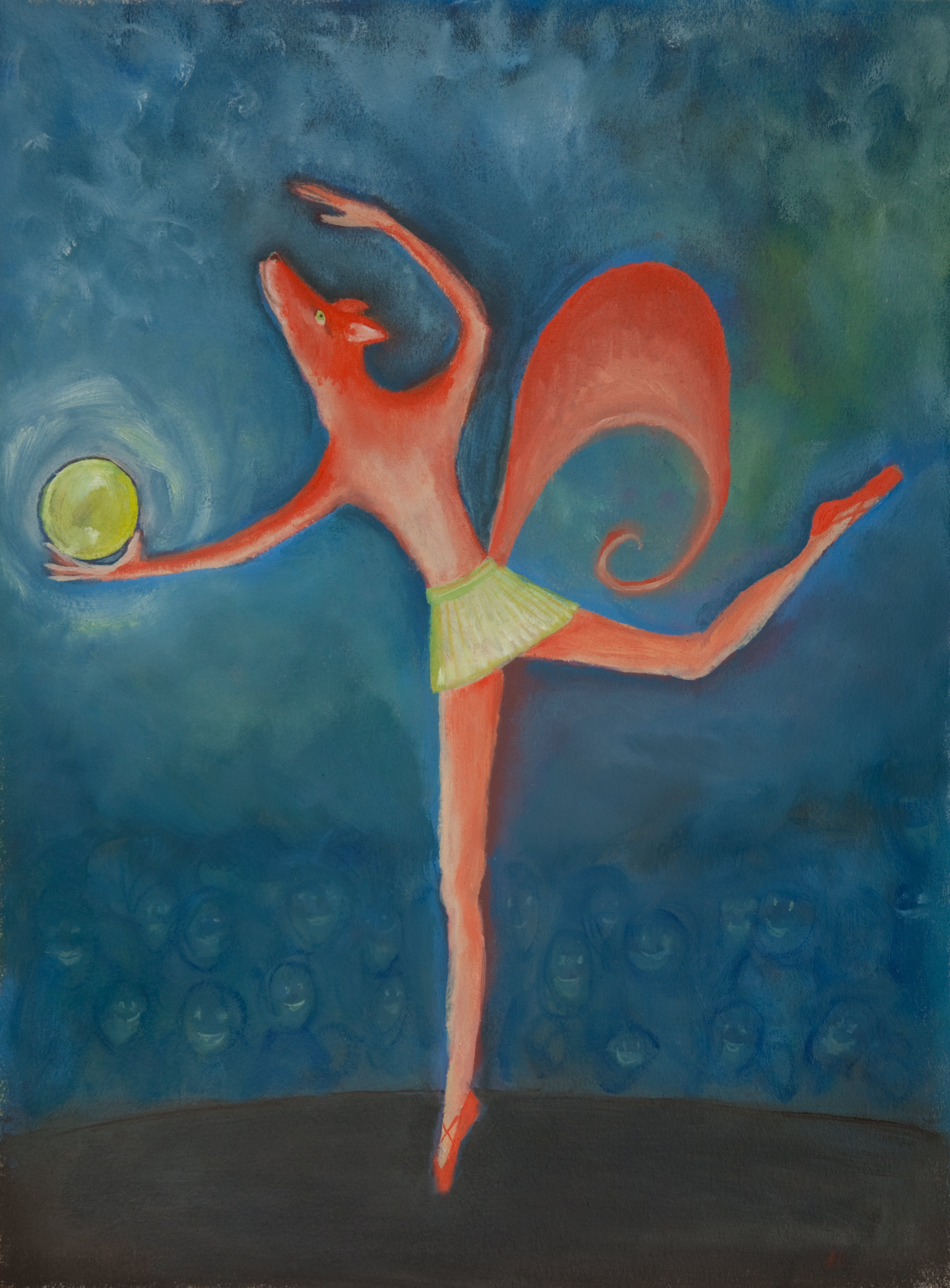 Whimsical oil painting of ballet dancing pink fox on stage
