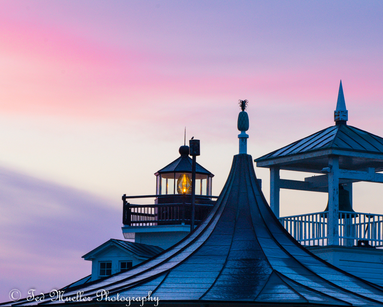 Three towers at Chesapeake Bay Maritime Museum at sunrise