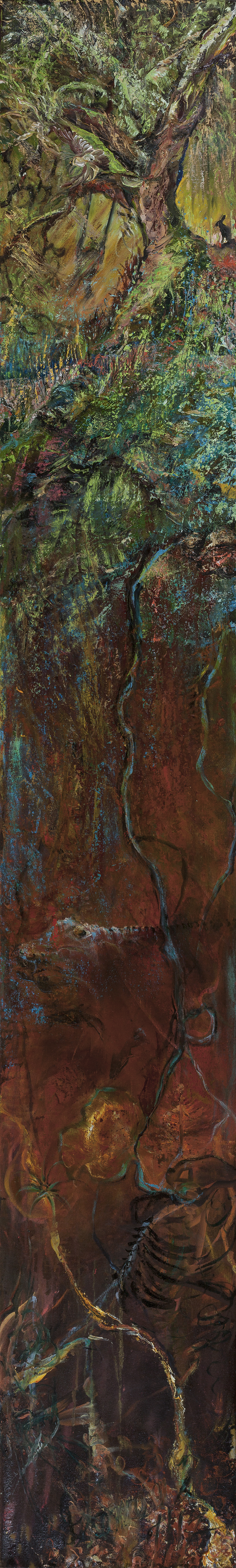 oil painting, poetry sourced, underground space, lost time, timeliness