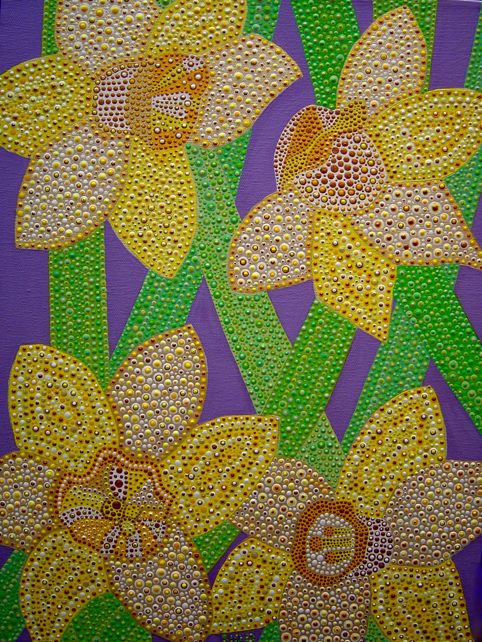 """Artwork """"Daffodils For Mardi Gras"""" won First Place (professional category, oil and acrylic) and Viewers Choice Award at the Maryland State Fair 2009."""