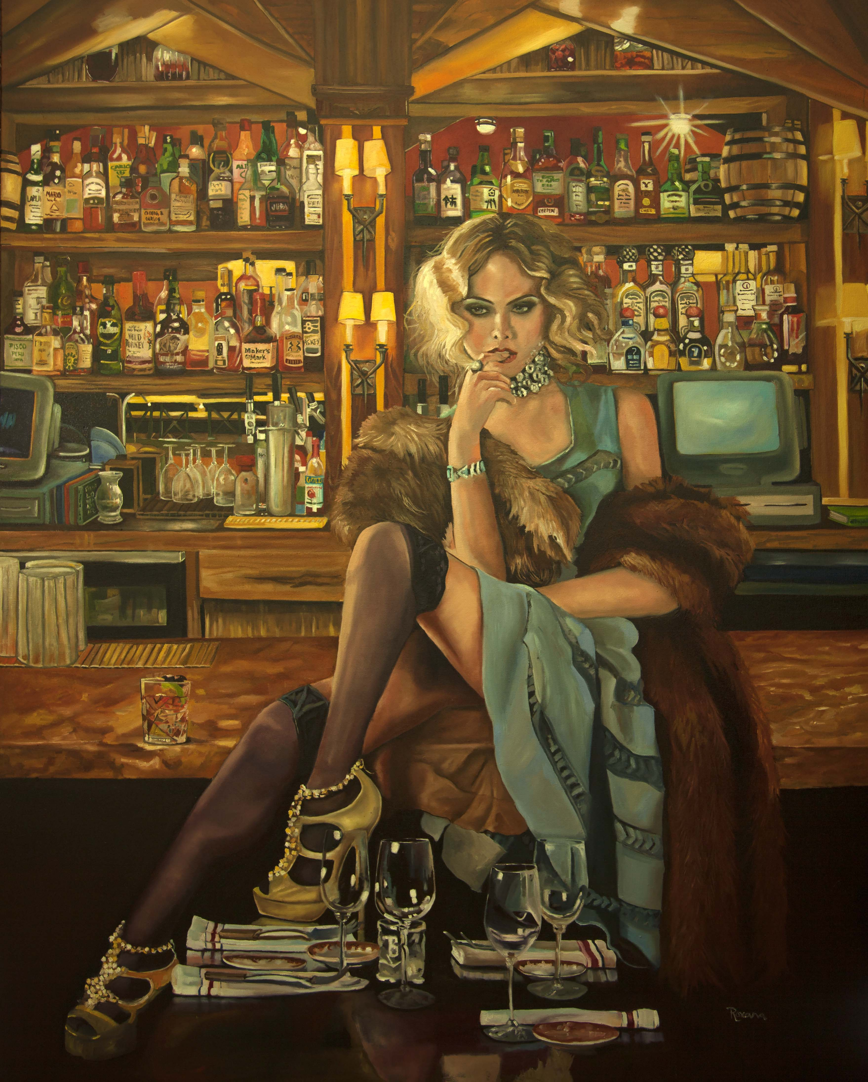 Large oil painting of a woman setting in bar