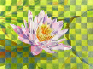 lily on a pond, watercolor mosaic