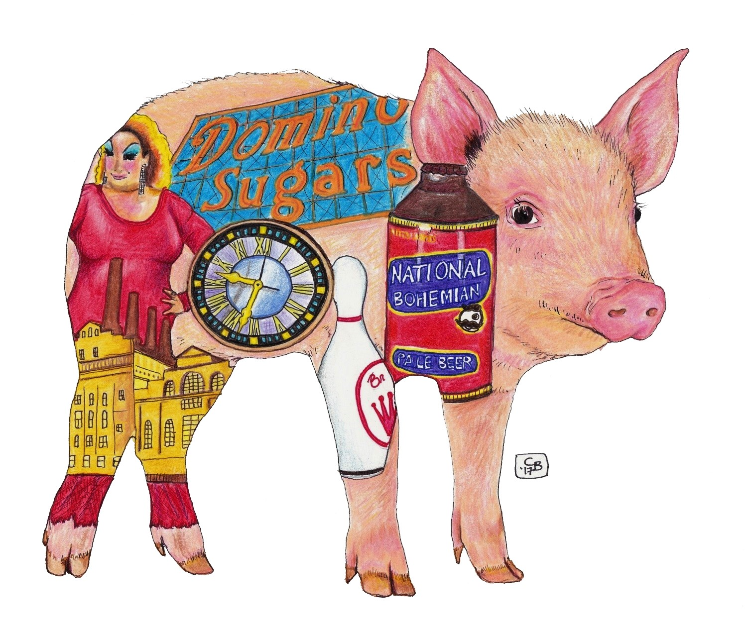 Pig, Baltimore, Icon, Drawing, Colored Pencil, Marker, Detail, Animal