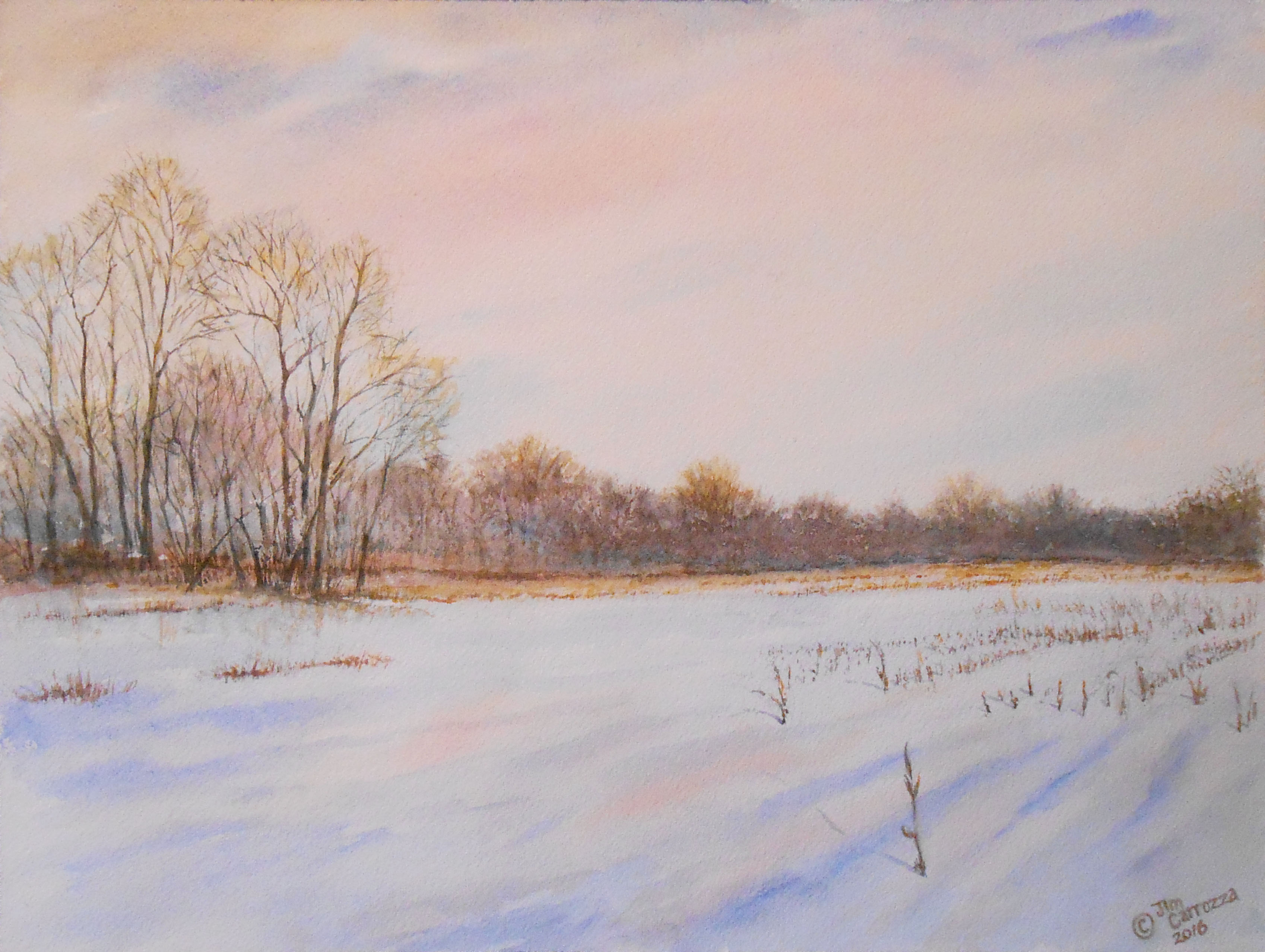 Watercolor, painting, snow, trees