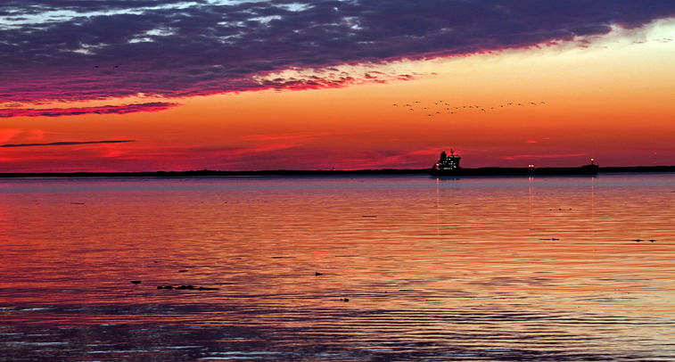 tanker, Chesapeake Bay, sunset, tangerine, purple