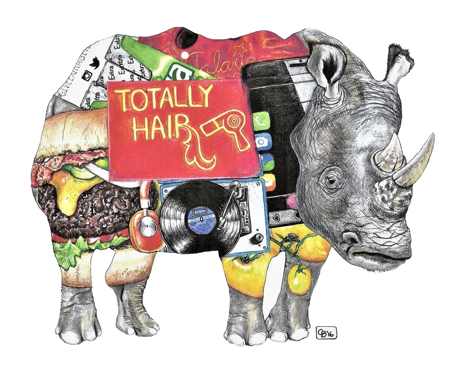 Rhinocerous, Objects, Drawing, Detail, Animal, Colored Pencil, Marker