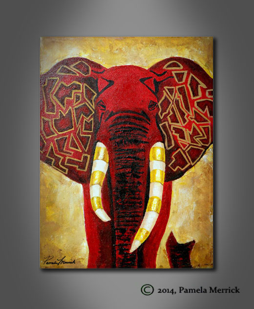 """Red Elly"" acrylic painting by Pamela Merrick"