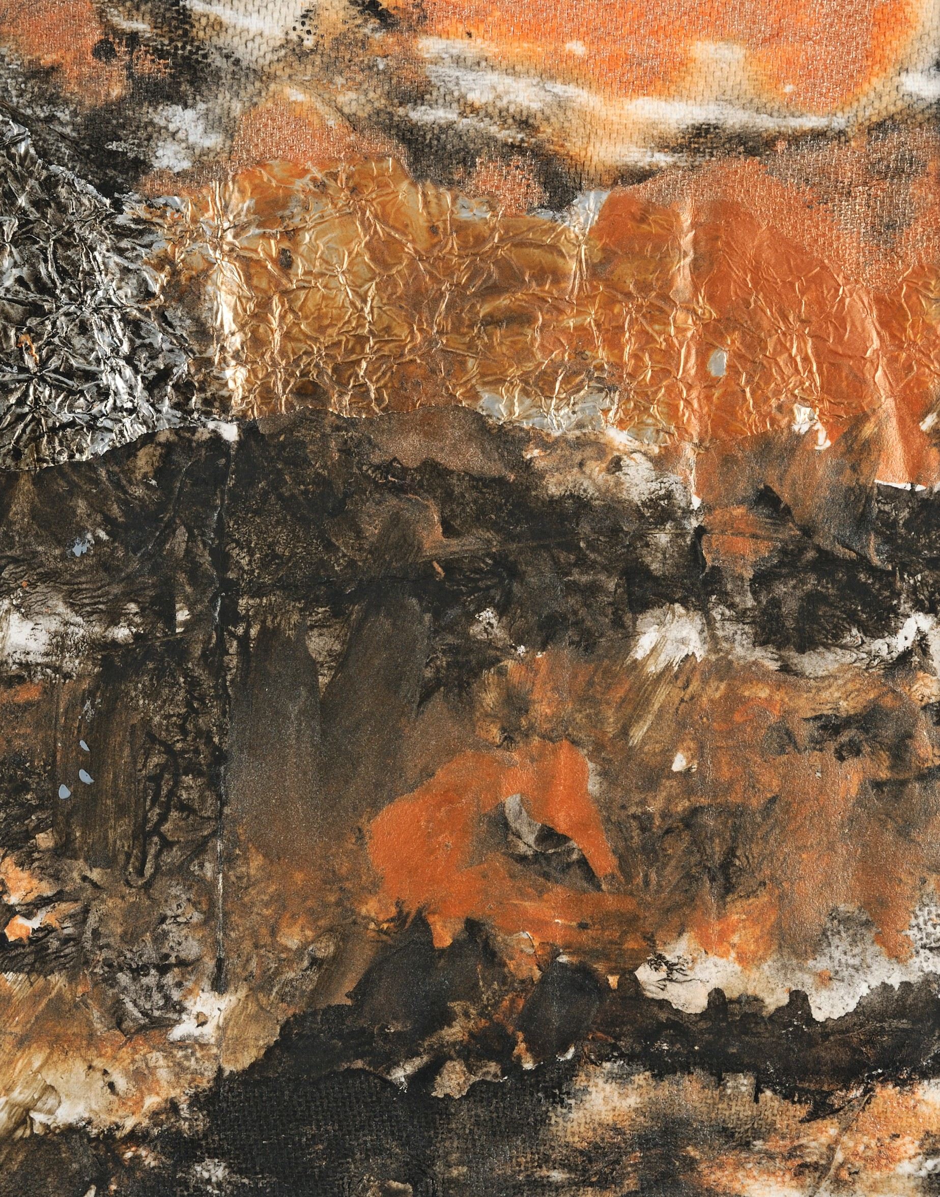 Abstract highly-textured acrylic mixed media landscape