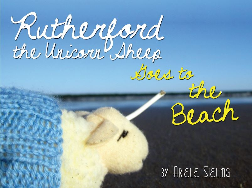 The book cover for Rutherford the Unicorn Sheep Goes to the Beach