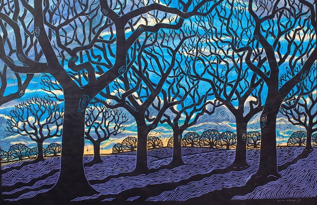 Sacred Grove by Anita Hagan - Mixed media - Linoleum block print and acrylic
