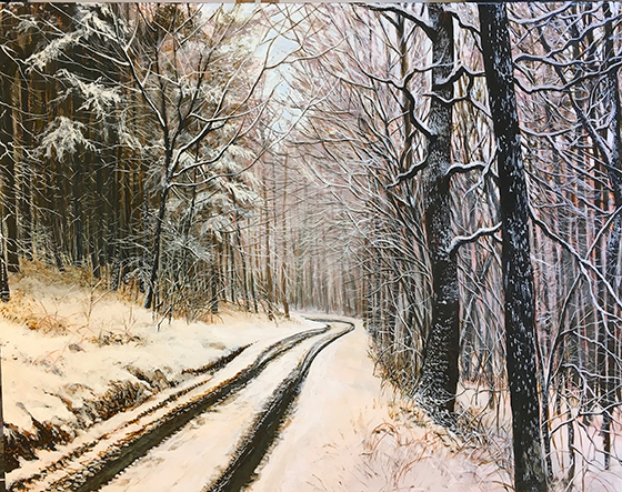 A limited color palette adds contrast and enhances the abstract graphic quality of this winter landscape.