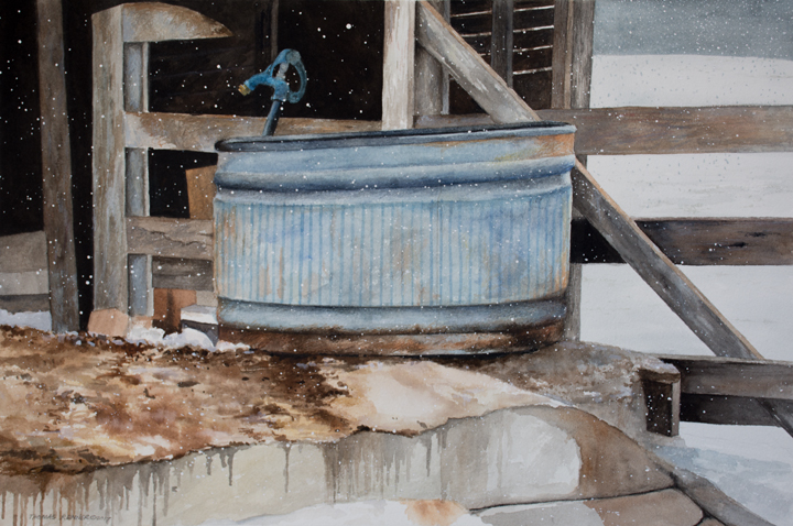 painting of stock tank in a barn on a snowy day