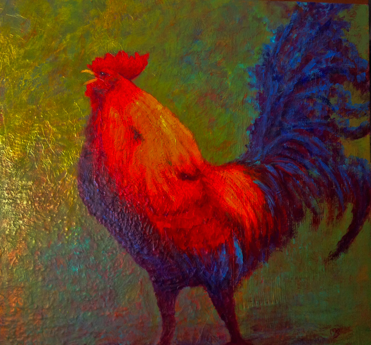 Crowing Rooster on Textured Background