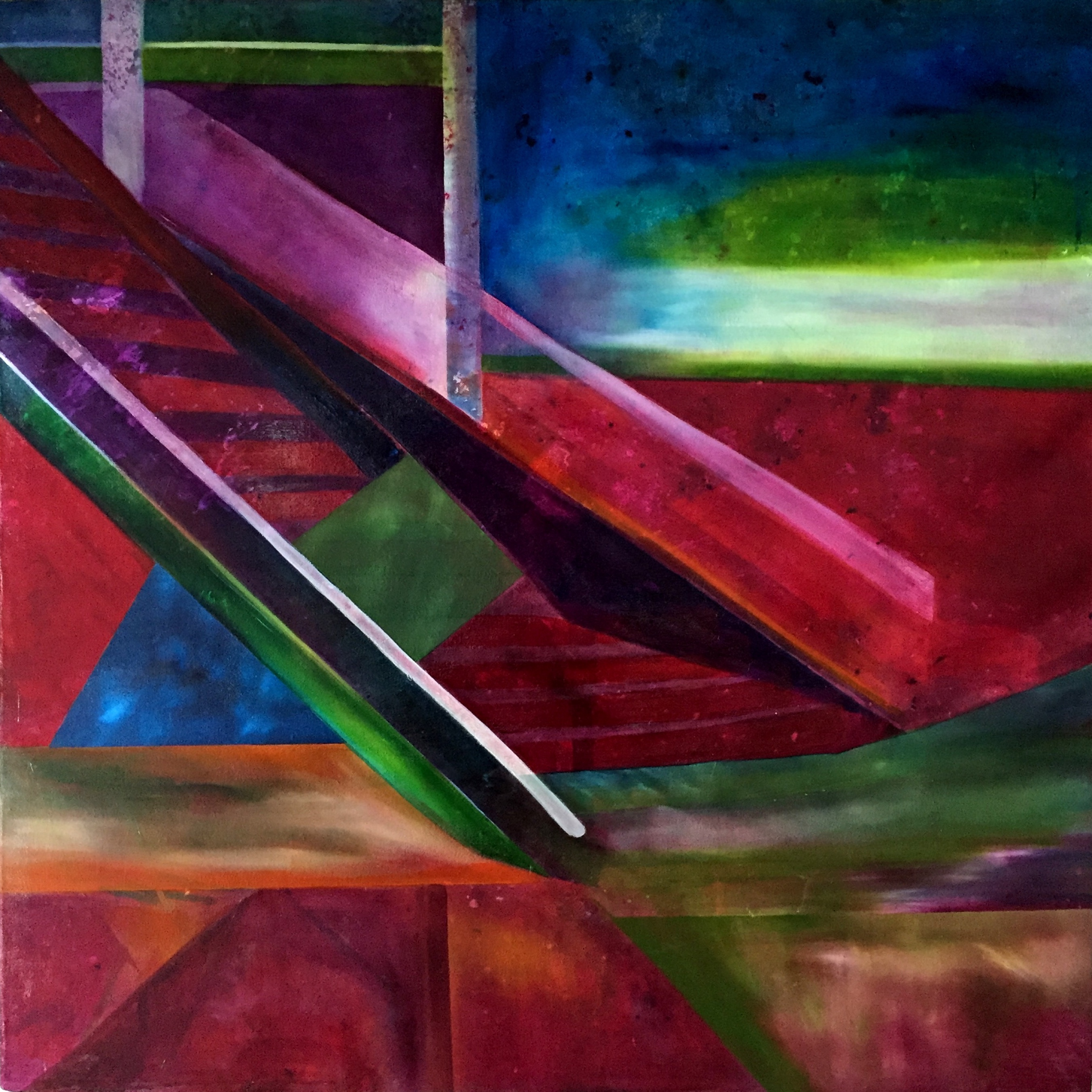 Stairs  Abstract Expressionist oil on canvas