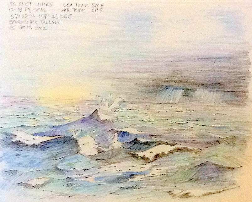 Colored Pencil sketch of a stormy sea