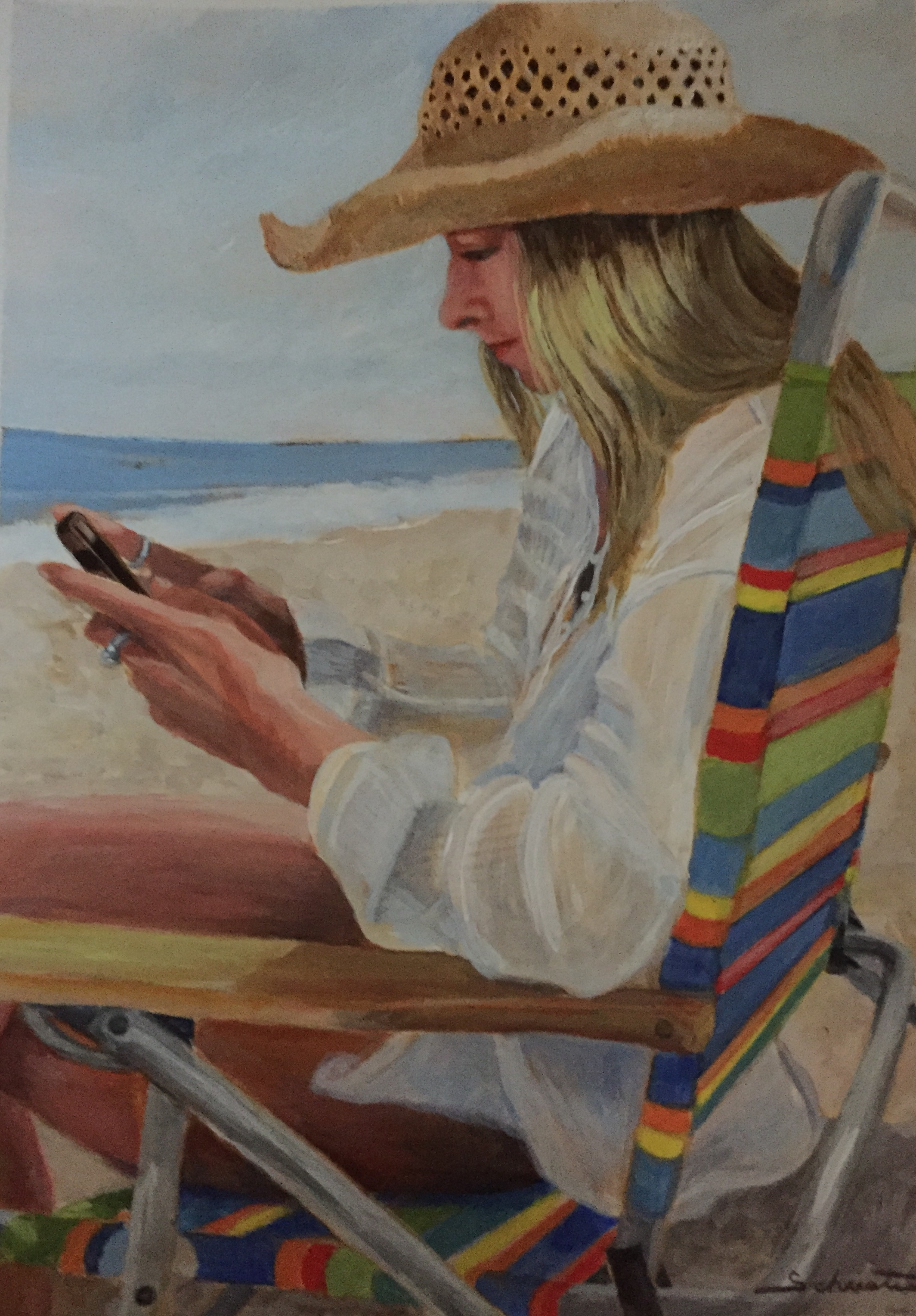 Painting of a girl in a straw hat sitting on the beach