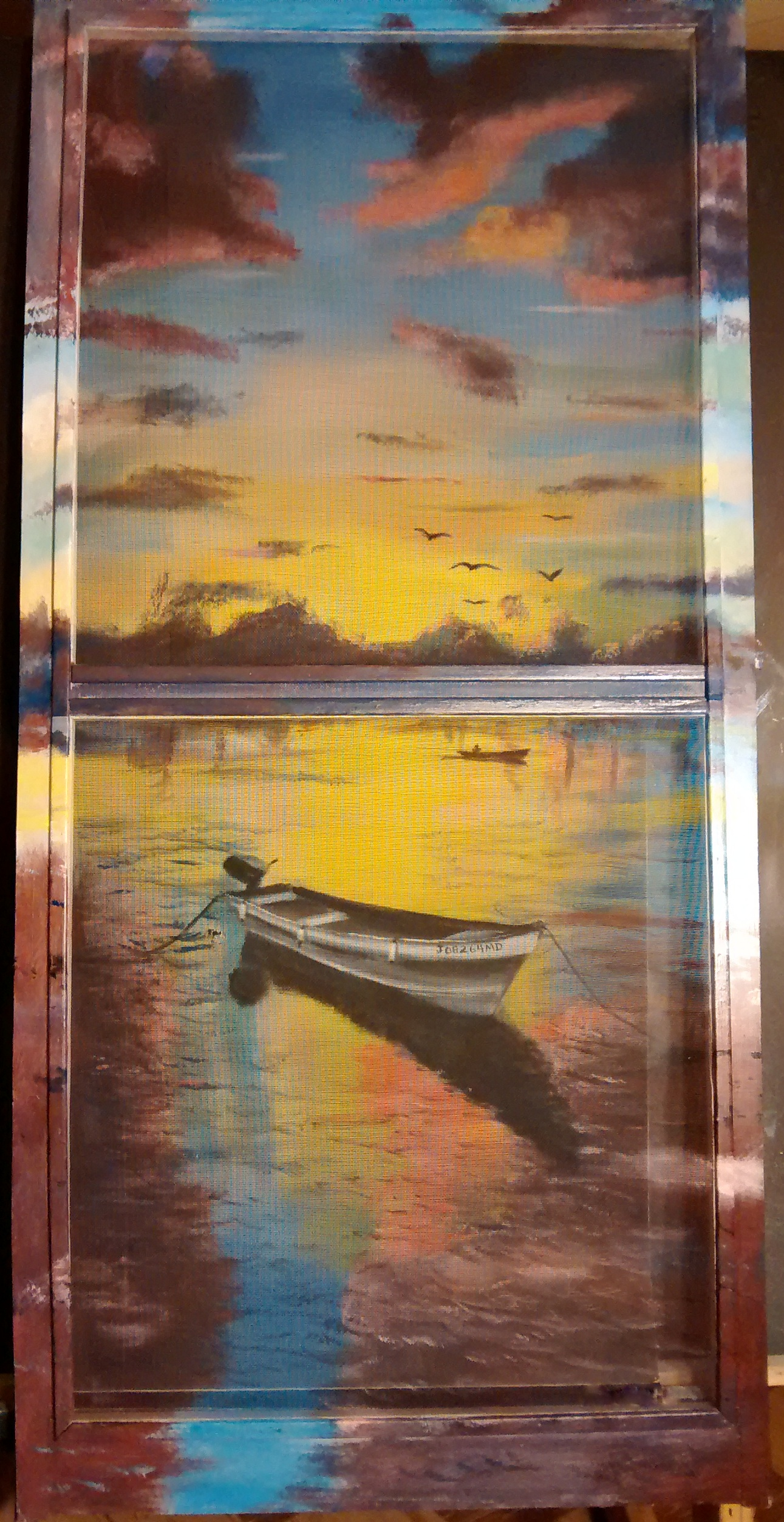 Anna's Painted Screens, Sunset, rowboat, water view