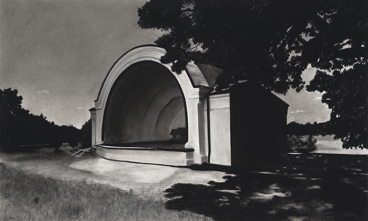 Charcoal drawing of the Clifton Park Bandshell