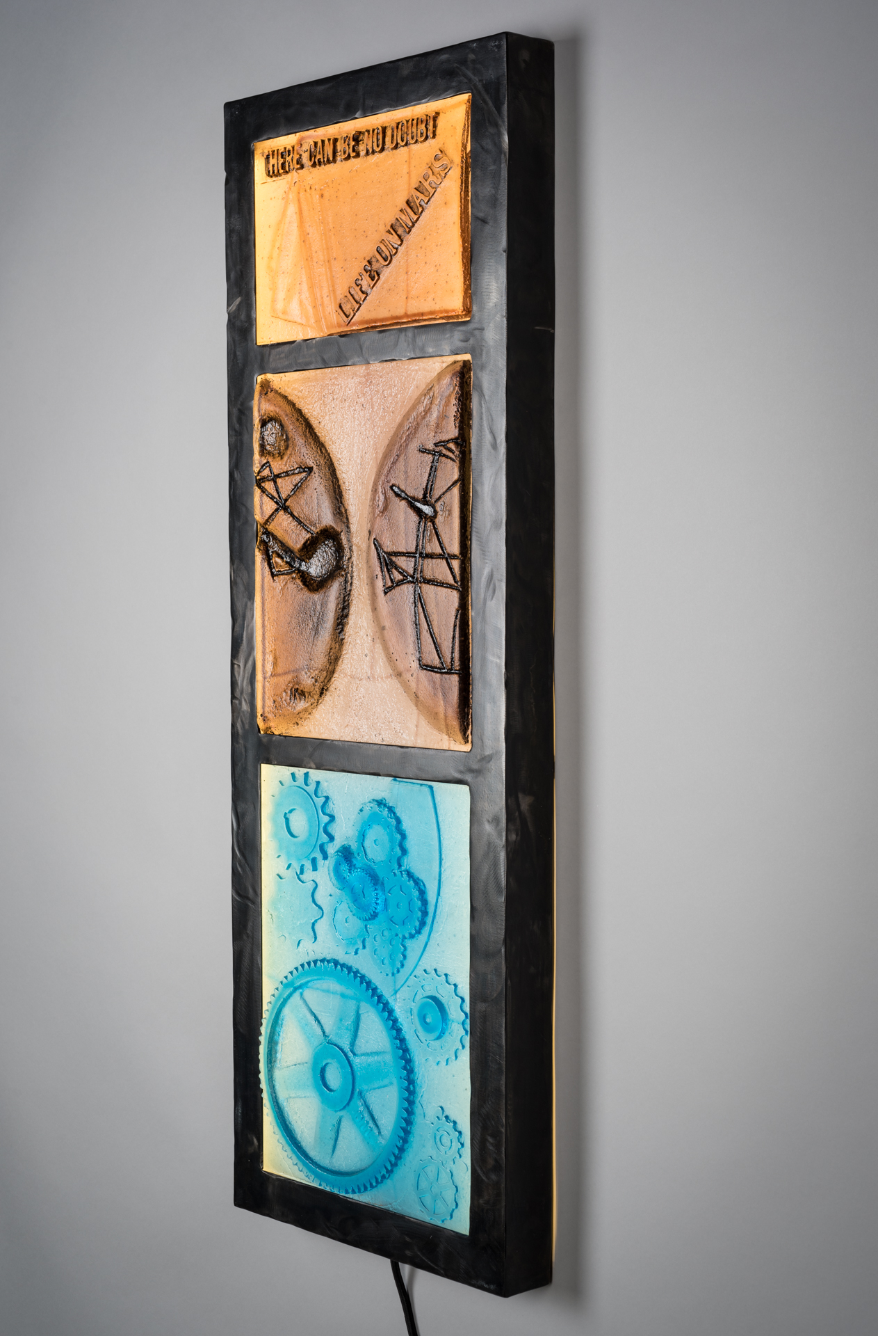 Wall sculpture about life on Mars; Percival Lowell
