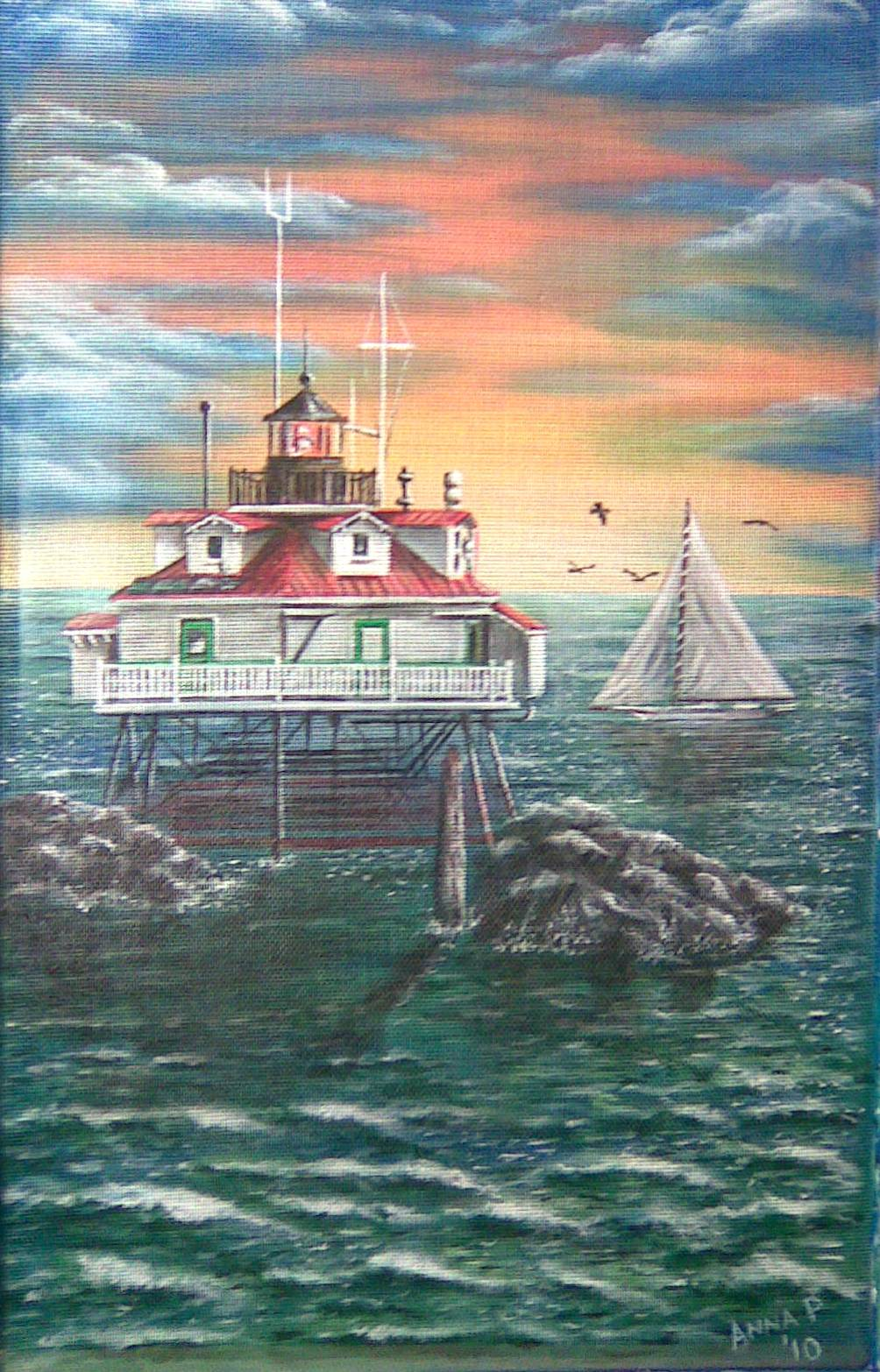 Anna's Painted Screens, Thomas Point lighthouse, sunset, skipjack