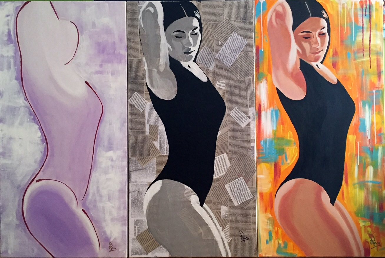 Three Sides To Every Story (RTunes68, Ravi Raman) triptych of beautiful woman