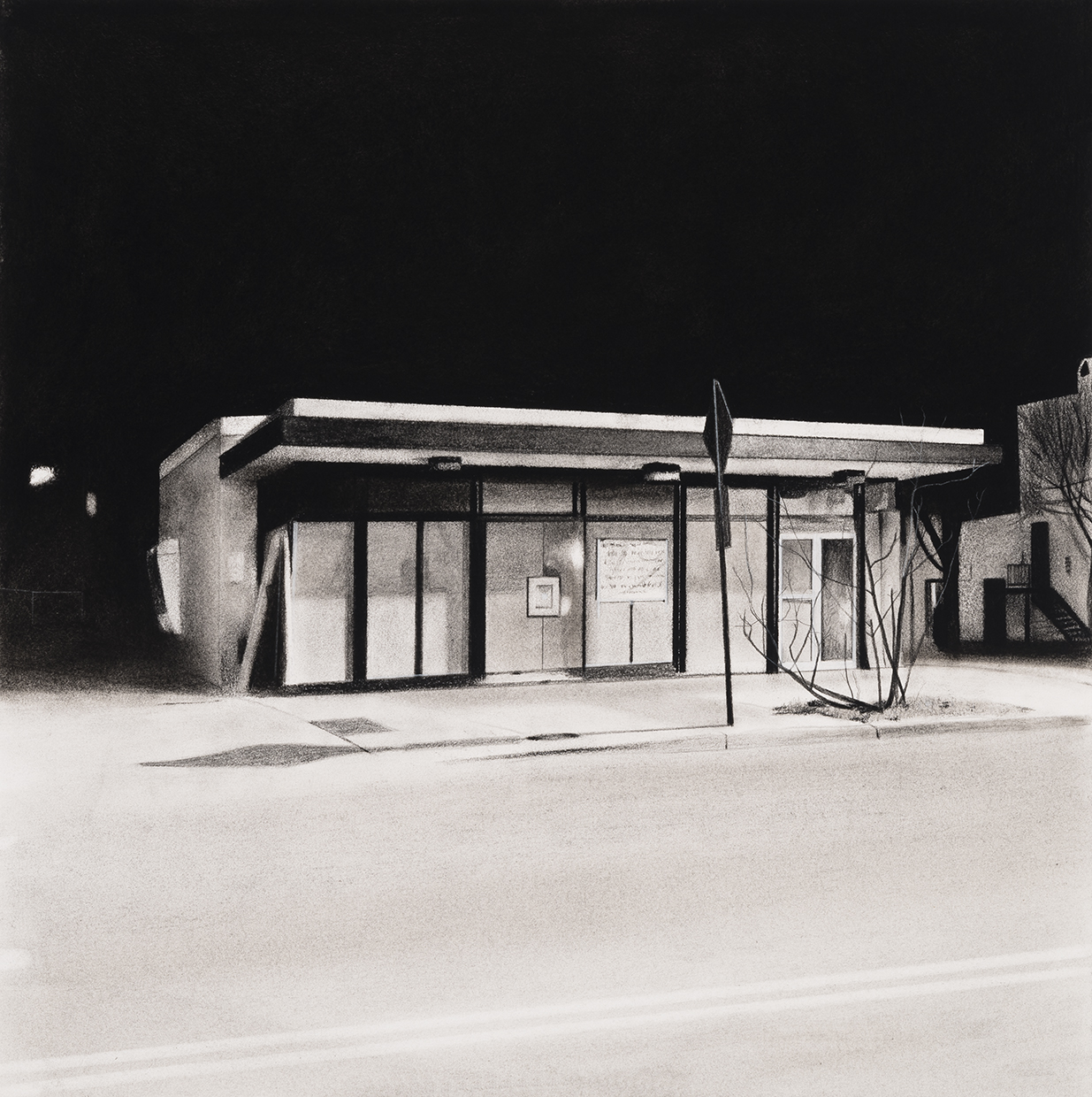 Charcoal drawing of vacant bank
