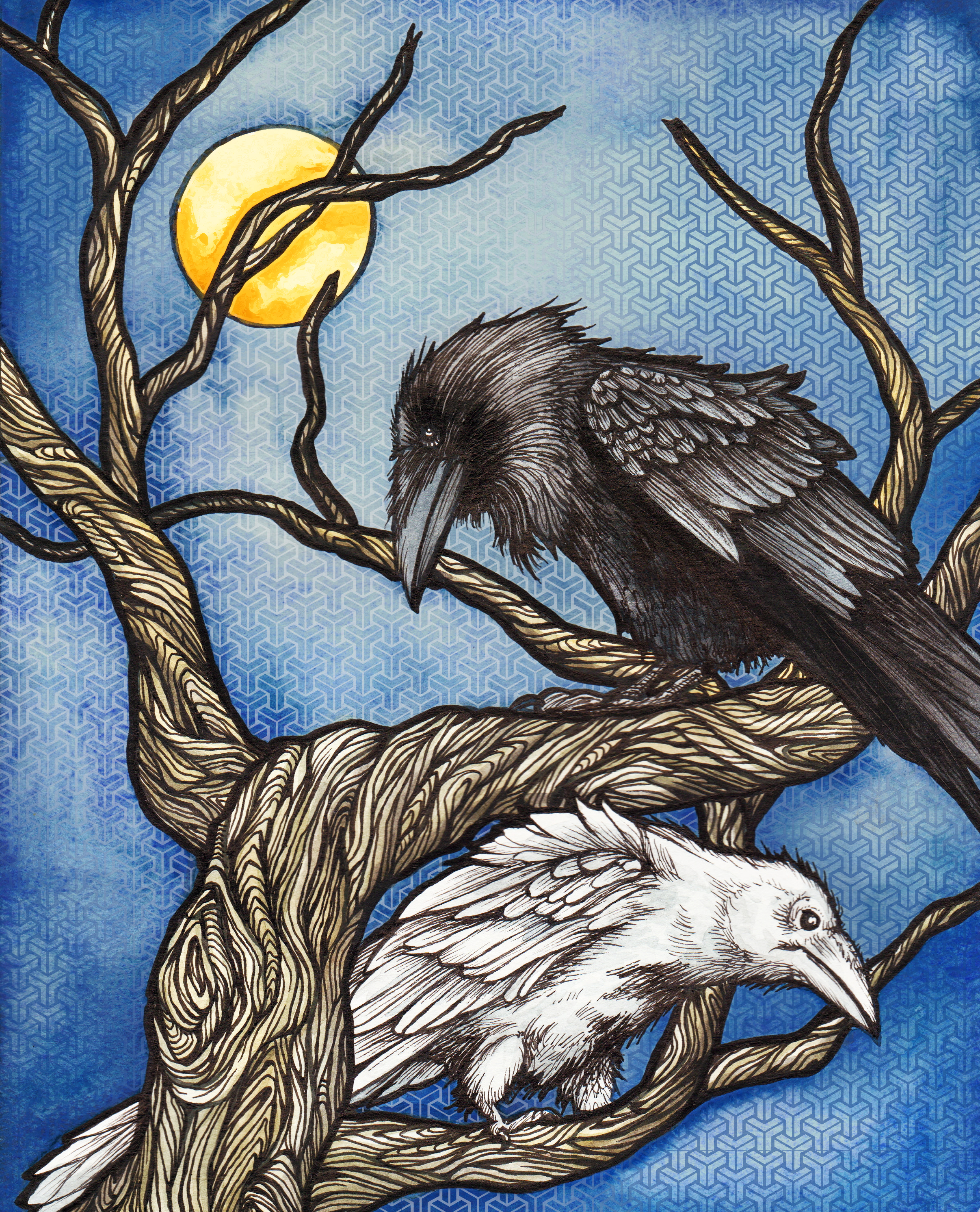 Twa Corbies (Two Crows) illustration by Cat Paschal Dolch