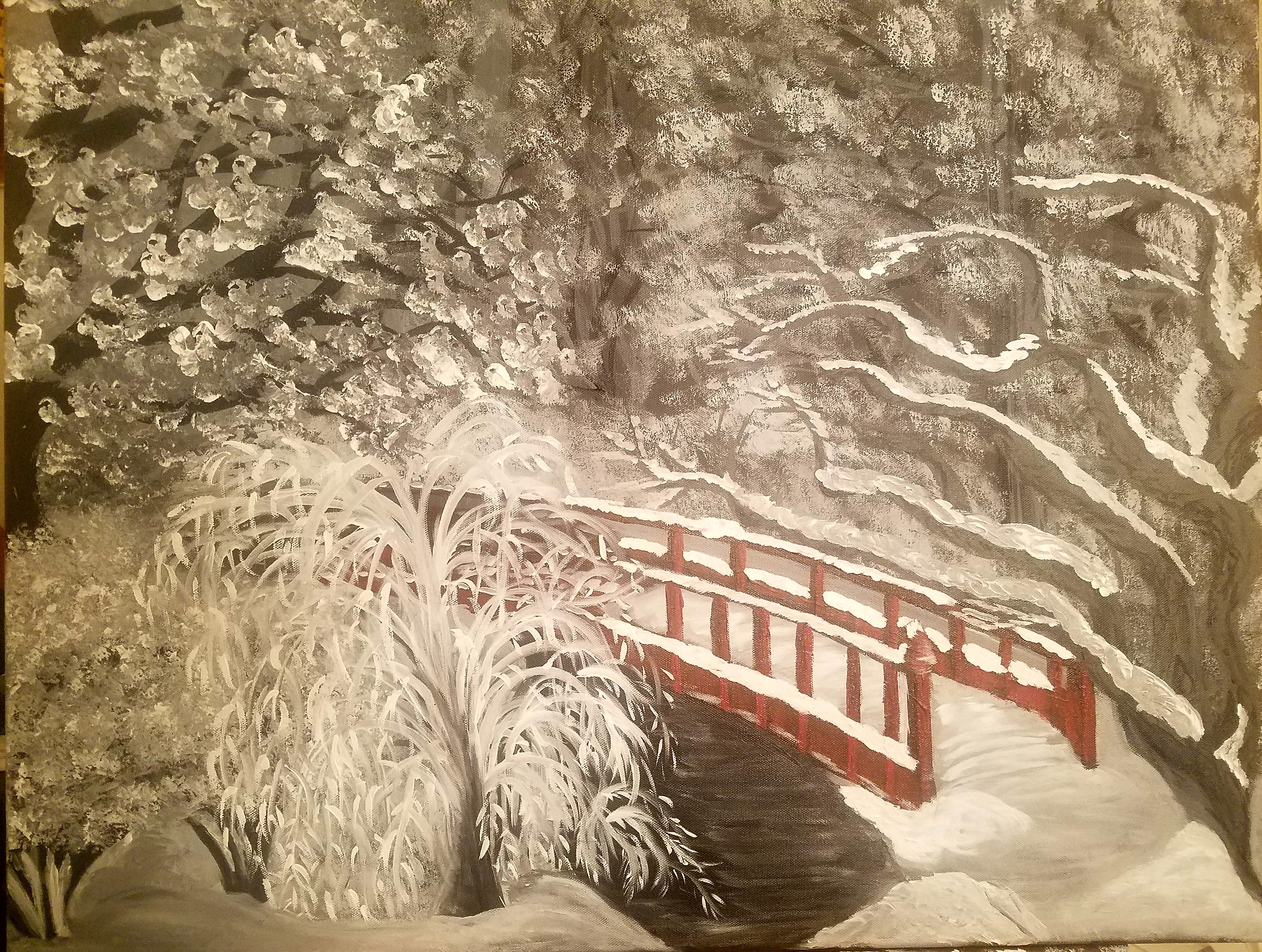 Winter landscape in monochromatic with red highlight