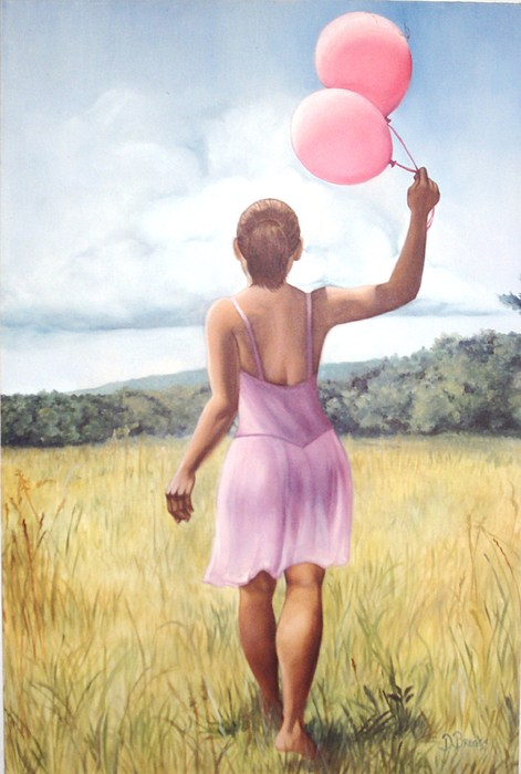 Two of my favorite things in one place, nature and balloons with the freedom of earth under bare feet. This piece gives me the feel of soul searching freedom and childish whims at the same time.