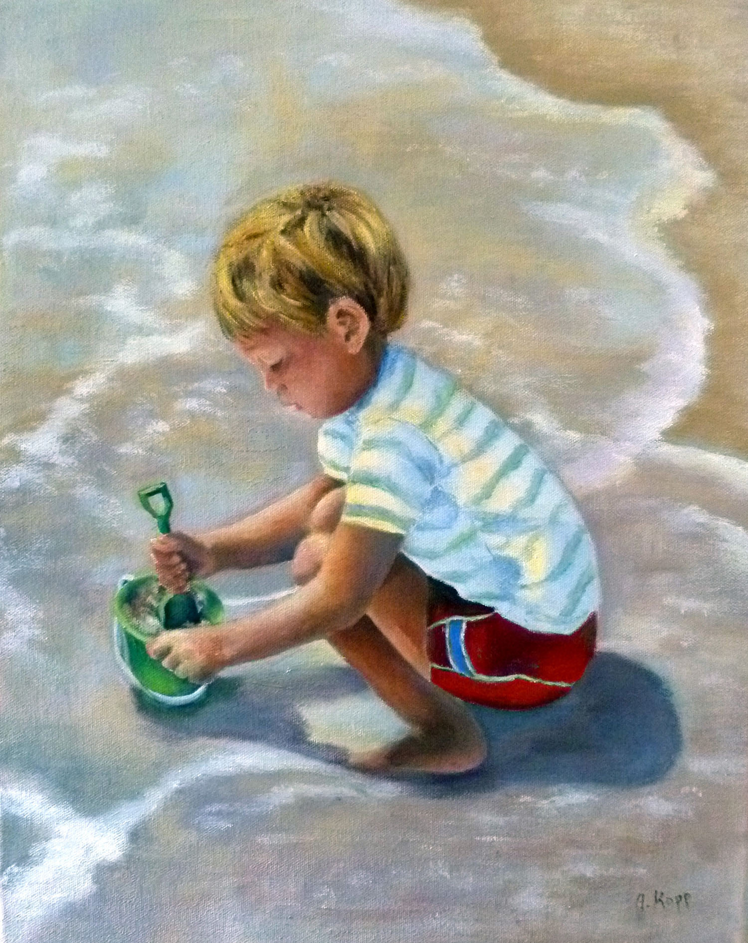 Young boy discovering the wonders of beach