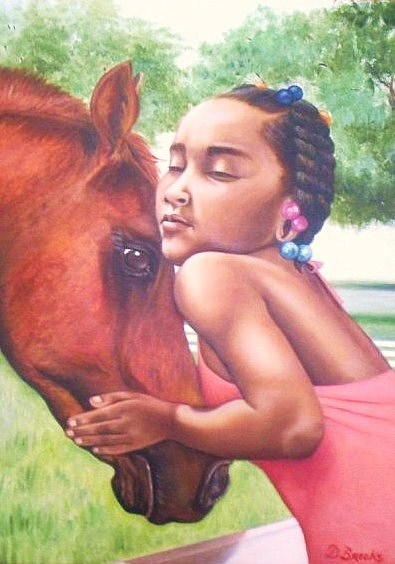 There is always one who is understanding and gives unconditional love when needed though sometimes they need not say a word. This piece reminds me of the importance of a relationship that animals can play in our lives