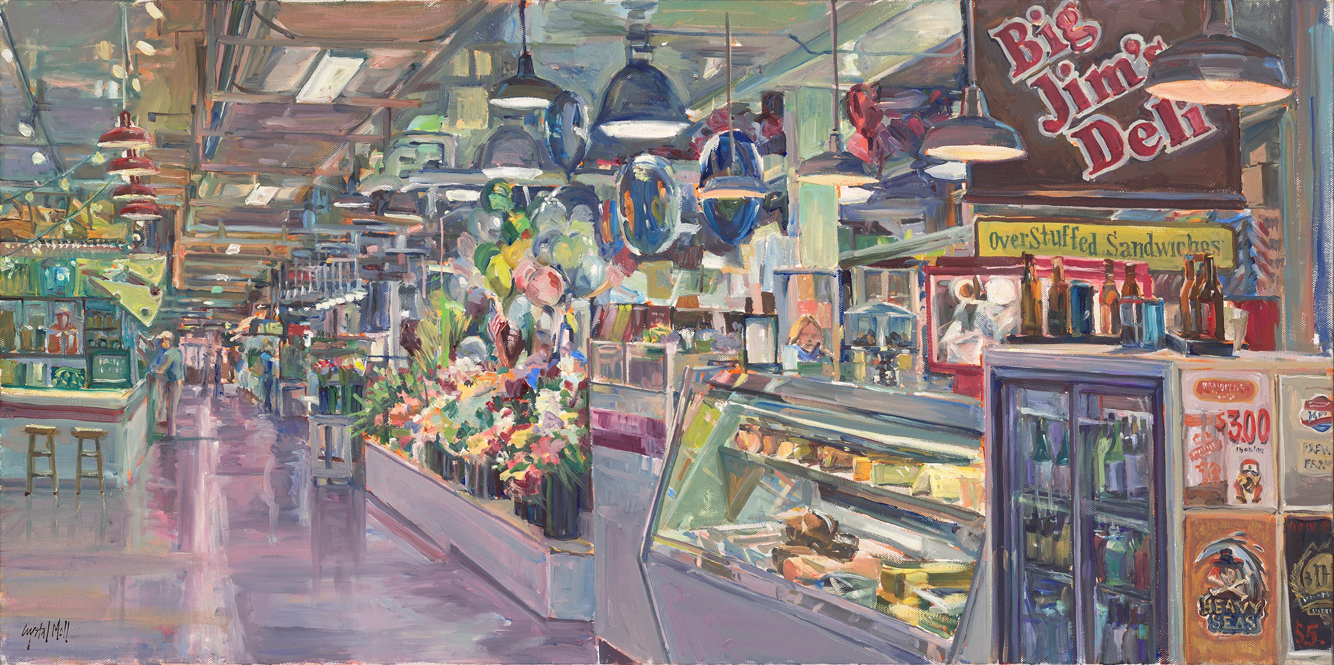 """""""Our Market"""" is an oil on canvas which was painted on location. This piece required several visits to complete."""