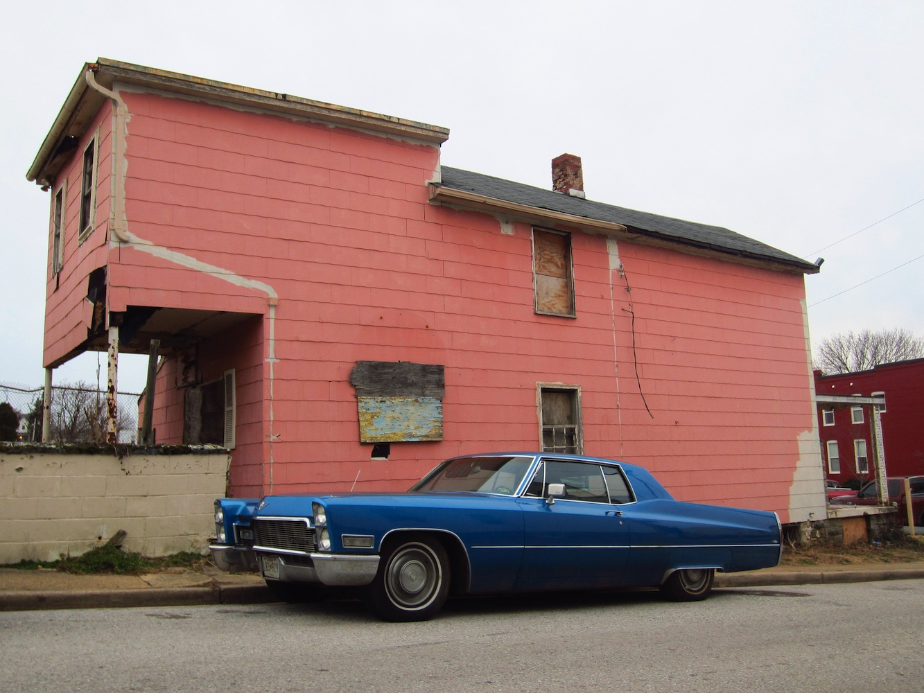 blue Cadillac, pink house