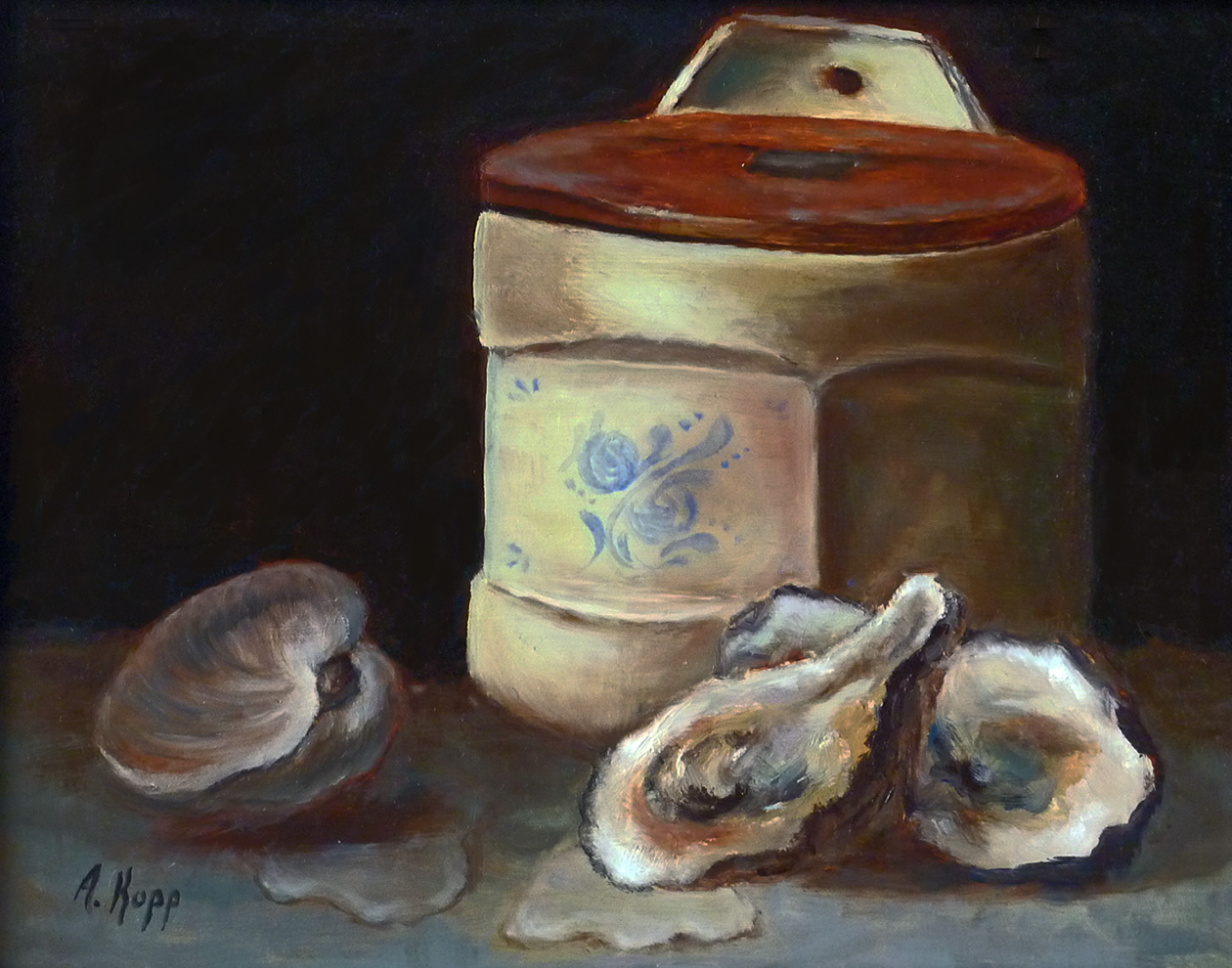 Treasures of the Chesapeake featuring clams and oysters with an antique salt box