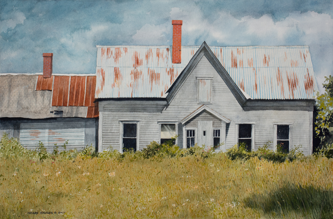 painting of an abandoned house in West Burke, VT