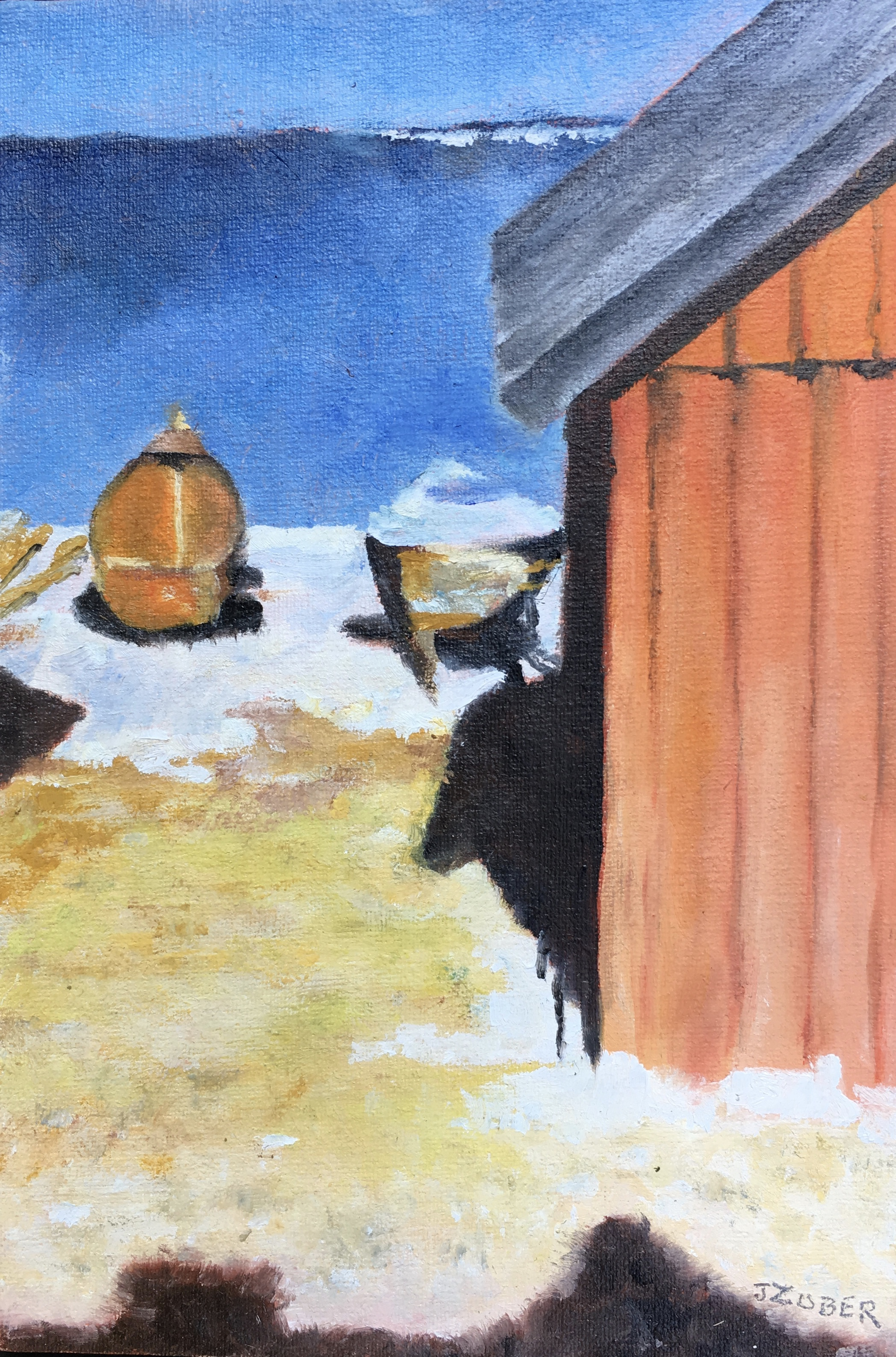 miniature oil painting of house, boats on island in Baltic Sea