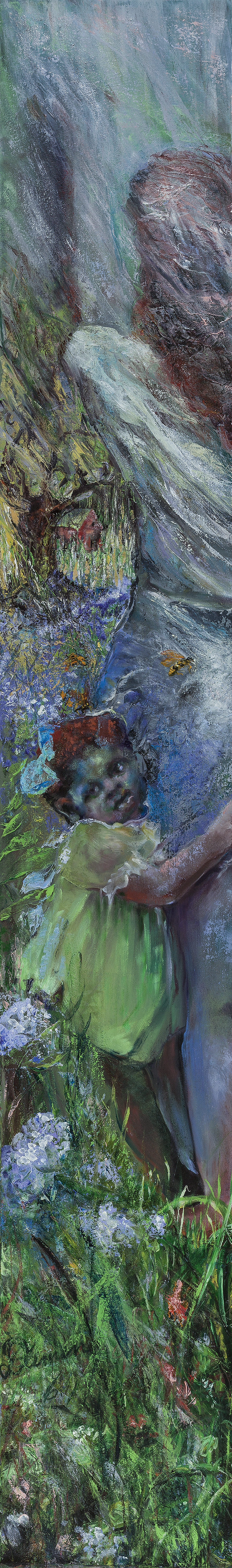 oil painting, photo sourced, poetry sourced, figurative, child, mother, separation