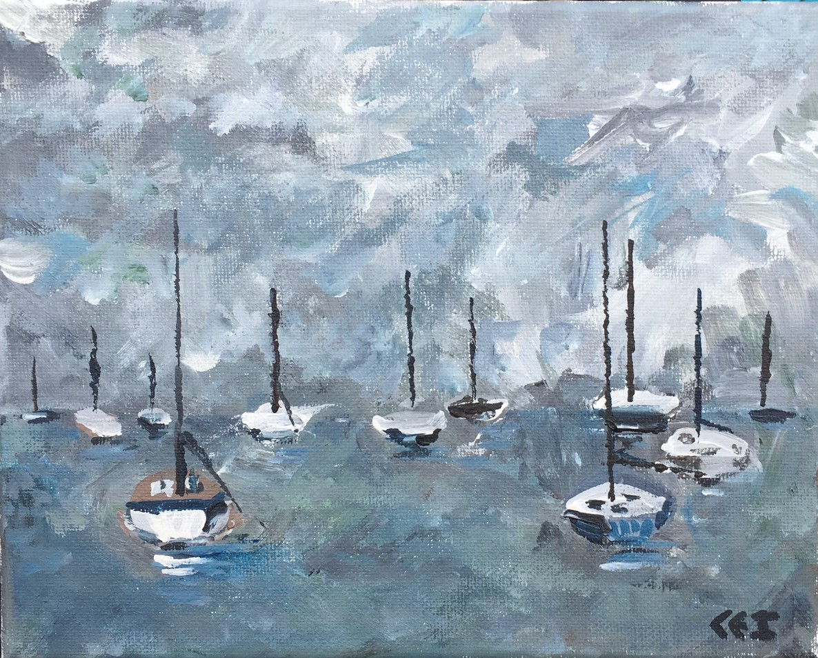 Impressionistic painting of acrylic on canvas.  Sailboats at anchor without any sails out...