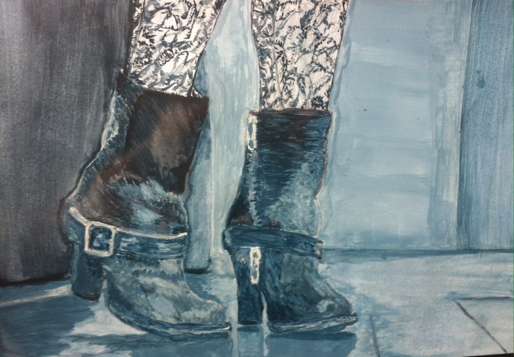 Watercolors; Acrylic on paper; blues; monochromatics